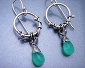 Silver Chrysoprase Tendril Earrings  FREE SHIPPING