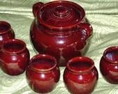 Vintage USA Beanpot and 5 Bowls To Match, Pottery Crock Beanpot, USA Beanpot, Hot Serving Pot and Cups, Soup Pot, Chili Pot, Potluck Pot