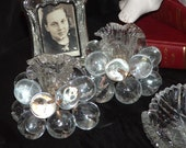 Antique Clear Glass Grape Taper Candle Holder Pair, Candle Holders, Romance, Taper Candle Holders, Glass Candle Holders, Pair Candle Holders