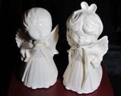 Glazed Ceramic Vintage Angel Boy and Girl Figurines, Angel Pair Figurines, White Angel Figurines, Childs Room Figuries, Holiday Figurines