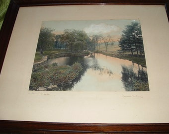 A Rare Find Process Picture By Wallace Nutting  A Barre Brook Painted around 1910, Watercolor Print Early American, Barre Brook, Painting