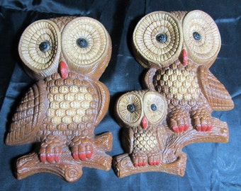 2 Piece Charming Retro Vintage Brown Owl Wall Hangings