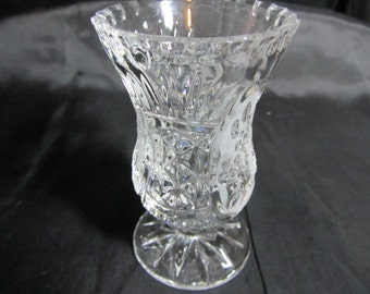 """Beautiful Small 5"""" Vase Both Cut Glass and Etched Glass, Crystal Glass Vase, Etched Glass Vase, Small Glass Vase, Etched Floral Vase"""