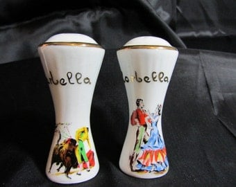 Vintage Marbella Salt and Pepper Shakers Desteny San Sebastian, Bull Fighter China Salt Pepper Shakers, Hand Painted Spanish Shakers