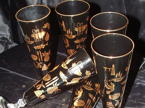 Vintage Set of 6 Black with Seafood Accents Footed Tumbler
