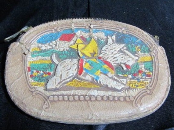 Antique Hand Tooled Scotty Dog Coin Purse