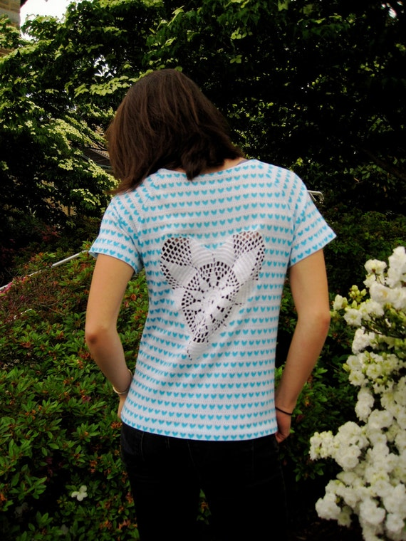 SALE Blue and White Heart Cut Out Doily Tee