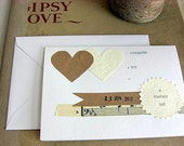 wedding invitation suite sample // hand cut hearts // typewriter text // invite, rsvp, directions and save the date