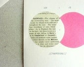 love card, circles, typewriter text, pink, vintage pages, i love you