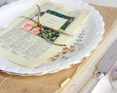 Wedding escort cards, place settings, 80, vintage book pages, natural twine