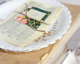 Wedding escort cards, 20, place cards, vintage book pages, rustic weddings, shabby chic, barn
