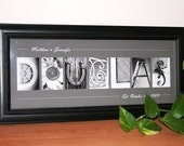 Alphabet Letter Photography - Framed Print 8x20  Framed Last Name with Alphabet Pictures