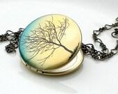 Brass Art Locket Necklace- Tree Silhouette
