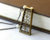 Vintage Brass Lacy Pendant, Freshwater Pearl Necklace - Lace and Linen