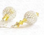 40% Off - Sterling Silver Mesh Ball Earrings, Yellow Swarovski Crystal, Handmade by Studio Seventy Five
