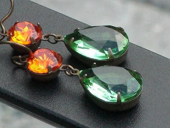 Vintage Glass Jewel Earrings - Autumn Glam