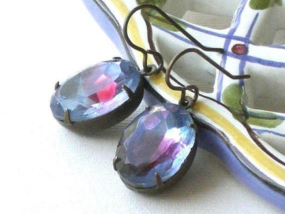 Sale - Purple and Magenta Vintage Glass Jewel Earrings, Antiqued Brass