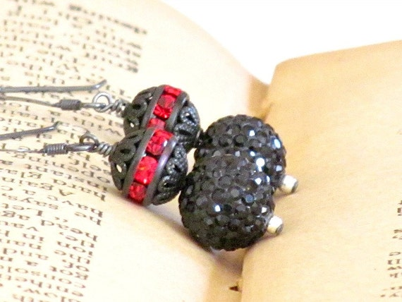 40% Off Sale - Black Swarovski Crystal Pave Beaded Earrings with Red Czech Glass Gunmetal Beads and Oxidized Sterling Silver - Black Widow