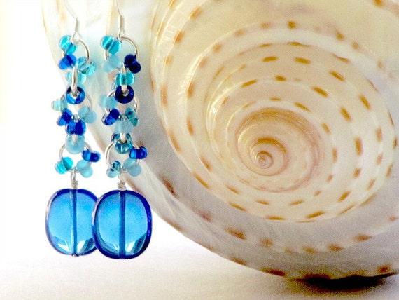 Caribbean Blue Czech Glass Earrings, Sterling Silver, Handmade by Studio Seventy Five