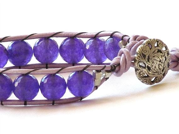 40% Off - Purple Jade Wrap Bracelet, Genuine Leather with Silver Button Handmade by Studio Seventy Five