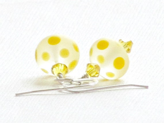 40% Off - Yellow PolkaDot Lampwork Glass Earrings, Swarovski Crystals Handmade by Studio Seventy Five
