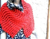 red mulberry handknitted shawl scarf wrap stole, ready to ship, spring gift for women