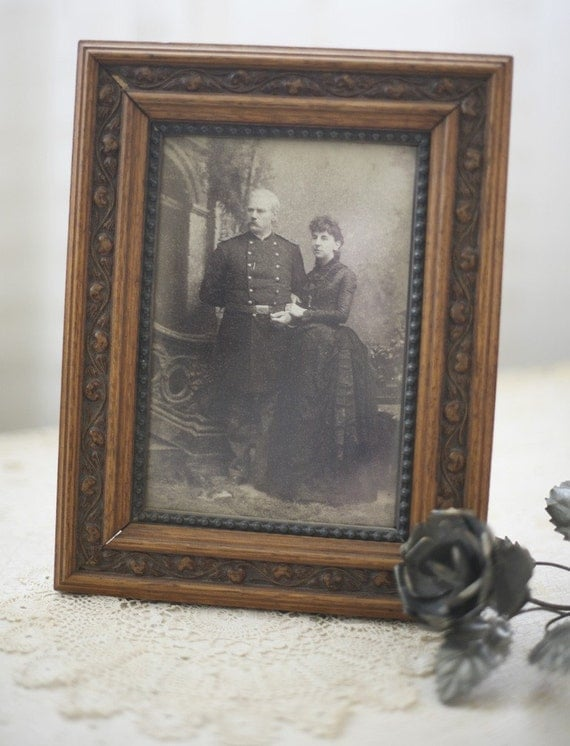 ON SALE antique wooden frame and image