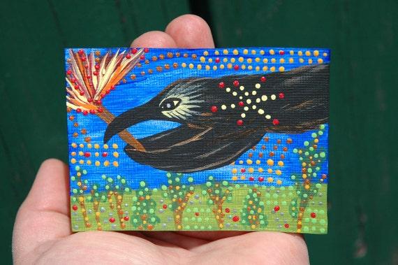 Crow Aceo, Australian Goddess Gnowee, Original