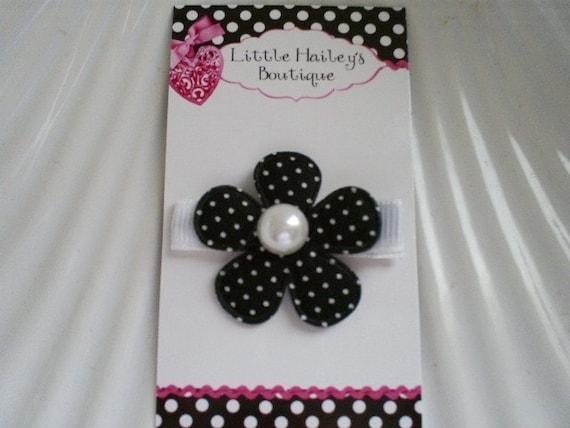 Black and White Polka Dot Flower Hair Clip