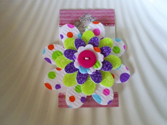 Large colorful and funtime polka dot felt and fabric flower for Polka dot felt fabric