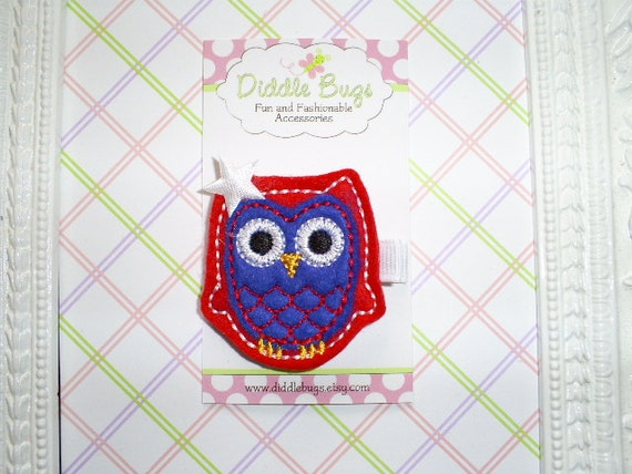 Annie The Red White And Blue Owl With A White Star Hair Clip