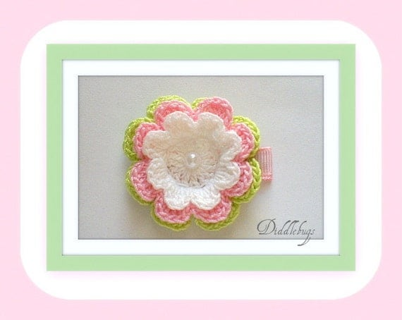 Girls Hair Clip -  Lime, White and PInk Crochet Flower With Pearl Center Hair Clip
