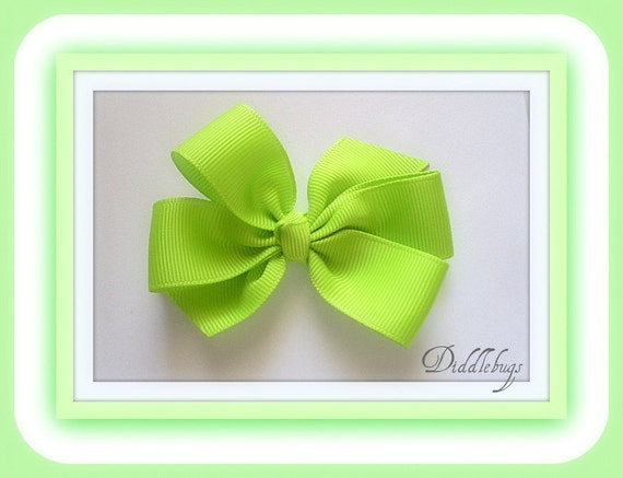 Girls Green Apple (Lime) Small Boutique Bow