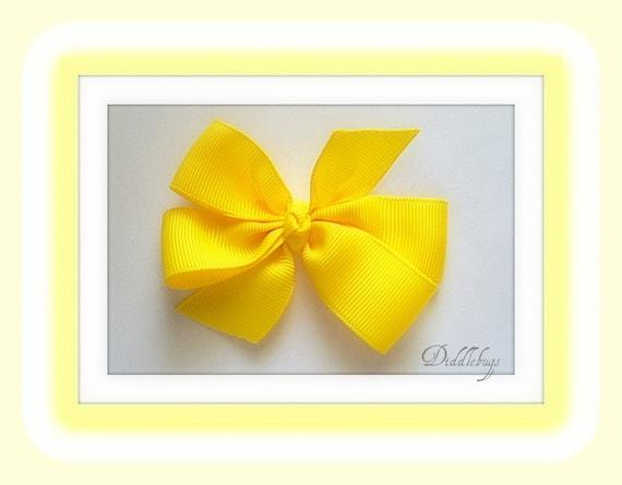 Girls  Bright Lemon Yellow Small Boutique Bow