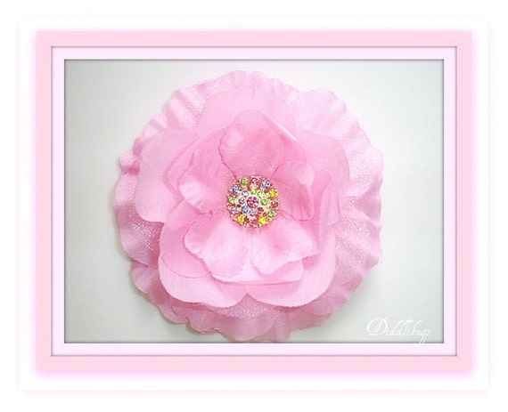 Girls Hair Clip -  Pink Ruffle Silk and Tulle Flower With Colorful Rhinestone Center Hair Clip