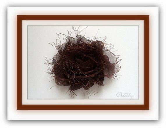 Beautiful Chocolate Shabby Chiffon Flower Hair Clip