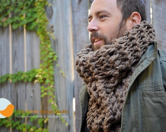Chunky Oversized Tall Cowl Scarf in Taupe  - Unisex - Fall, Holiday Specials, Warm & Cozy, Accessories