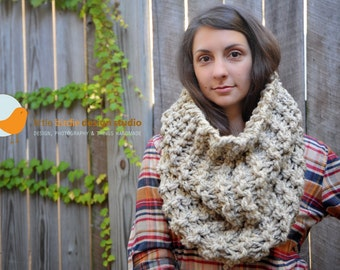 Chunky Oversized Tall Cowl in Oatmeal- Unisex, Fall, Holiday Specials, Accessories