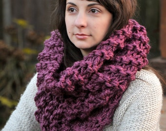 Plum Oversized Tall Cowl Scarf - Fall Accessories, Winter, Holidays