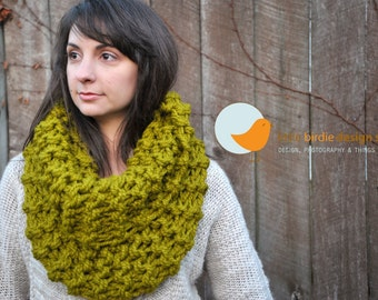Chunky Oversized Tall Cowl in Lemongrass - Holiday Gift, SALE