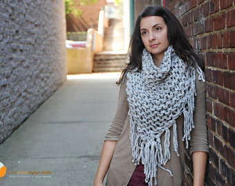 Chunky Cowboy Fringe Bandana Scarf in Marble Gray - Winter Sale