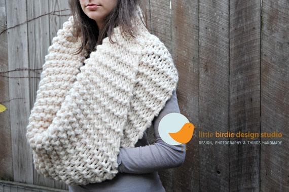 CUSTOM ORDER FOR  brinkelsprinkel - Chunky Cowl Scarf with Pocket in Cream