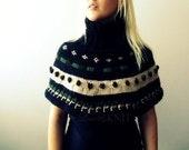 Turtle Neck Nordic Poncho Capelet- Winter Poncho- Nordic Sweater- Nordic Knits- Hand Knit Poncho- Women Ponchos- Womens Clothing- Ski Cloths