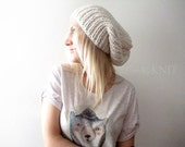 Unisex Winter White Slouchy Hat Knitted Slouchy Beanie Womens Slouchy Beanie Oversized Slouchy Hat Ivory Slouchy Beanie Knit Hat Mens Woman