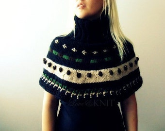 Turtle Neck Nordic Poncho Capelet- Winter Poncho- Nordic Sweater- Nordic Knits- Hand Knit Poncho- Women Ponchos- Womens Clothing- Ski Cloths