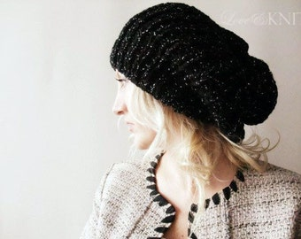 Black Slouchy Hat / Slouchy Beanie / Loose Knit Beanie / Sparkled Glitter Beanie / Girlfriend Gift / Gift for Wife / Oversized Beanie / Gift