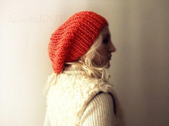 Clementine Slouchy Hat Womens Slouchy Beanie Hand Knitted Beanie Orange Beanie Grunge Hat Wool Winter Beanie Slouchy Knit Hat Oversized Hat