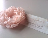 Peony in blush - silk flower brooch, clip, or headband
