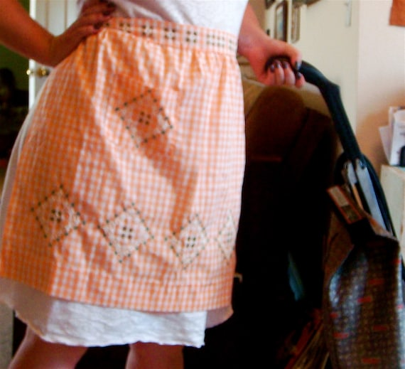 Orange Gingham Apron  HOUSEWORK TIME