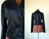 90s Women's crop jacket blazer black satin tux style Sz M/ L